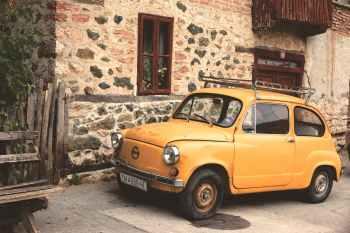 car oldtimer classic car yellow car